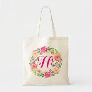 Floral Wreath Monogram Bridesmaid-2 Tote Bag
