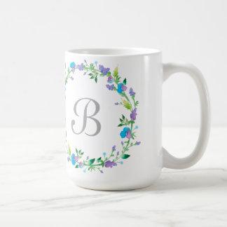 Floral Wreath Monogram Classy White Coffee Mug