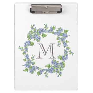 Floral Wreath Monogram Clipboard