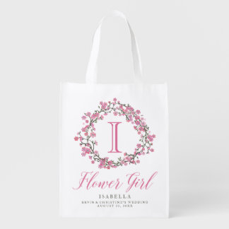 Floral Wreath Monogram Flower Girl Bag