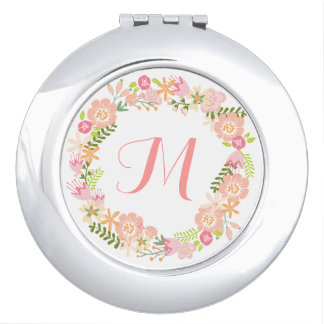 Floral wreath monogram mirror compact travel mirrors