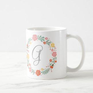 Floral Wreath Monogram Mug