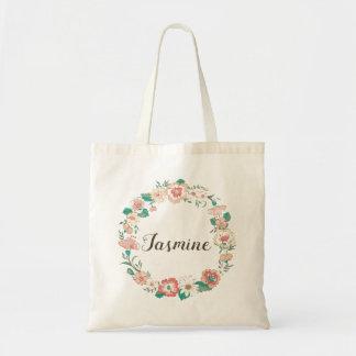 Floral Wreath Monogram Name Tote - Jasmine