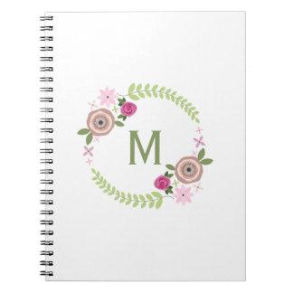 Floral Wreath Monogram Notebook