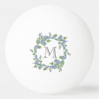 Floral Wreath Monogram Ping Pong Ball