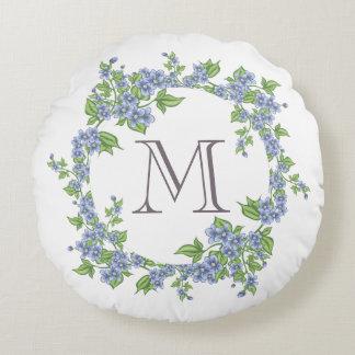 Floral Wreath Monogram Round Cushion