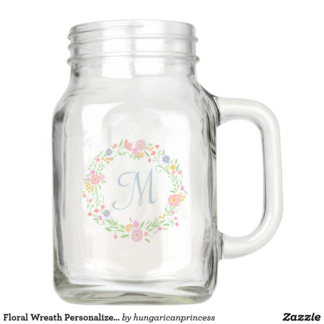 Floral Wreath Personalised Monogram Bridesmaid Mason Jar
