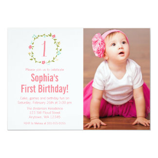 Floral Wreath Photo Girl 1st Birthday 13 Cm X 18 Cm Invitation Card