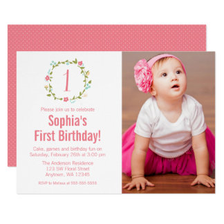 1st birthday girl invitations announcements zazzle floral wreath photo girl 1st birthday card stopboris Image collections