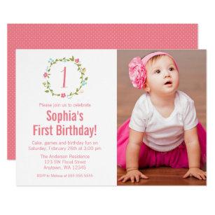 Girl 1st birthday invitations zazzle uk floral wreath photo girl 1st birthday invitation filmwisefo