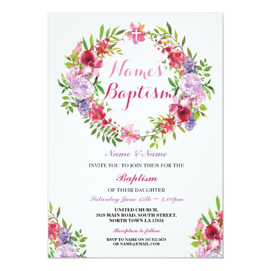 Floral Wreath Pink Baptism Flowers Invitation
