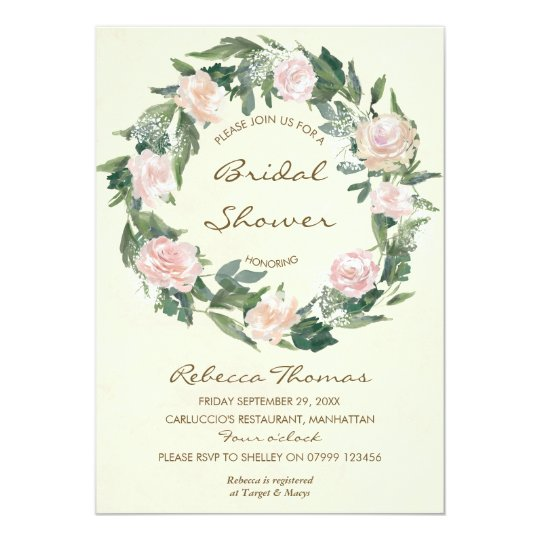 floral wreath pink roses bridal shower invitation