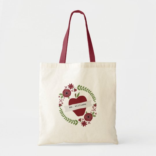 Floral Wreath Red Apple Personalised Teacher Tote Bag