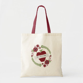 Floral Wreath Red Apple Personalized Teacher Budget Tote Bag