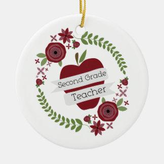 Floral Wreath Red Apple Second Grade Teacher Christmas Ornament