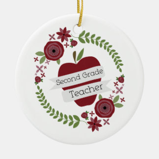 Floral Wreath Red Apple Second Grade Teacher Round Ceramic Decoration