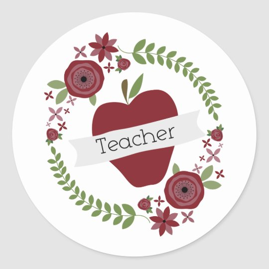 Floral Wreath & Red Apple Teacher Round Sticker
