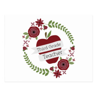 Floral Wreath Red Apple Third Grade Teacher Postcard