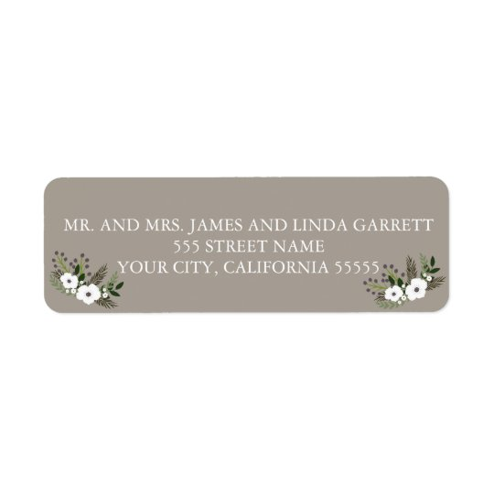 Floral wreath return address label - taupe