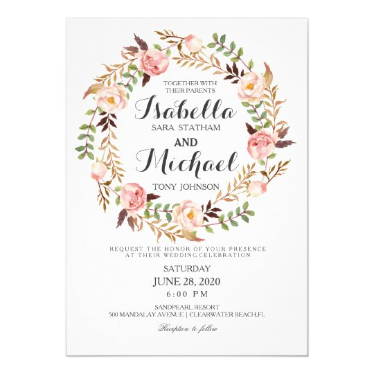 Floral Wreath Rustic Wedding Invitation