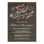 Floral Wreath Rustic Wood Bridal Shower Invites