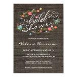 Floral Wreath Rustic Wood Bridal Shower Invites 11 Cm X 16 Cm Invitation Card