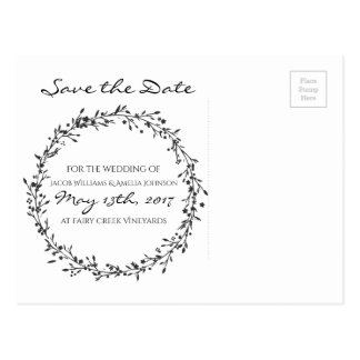 Floral Wreath Save-The-Date Postcard