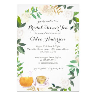 Floral Wreath Teacup Bridal Shower Invitation