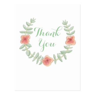 Floral Wreath Thank You Postcards