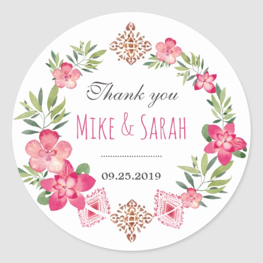 Floral Wreath Tribal Pattern Wedding Favour Classic Round