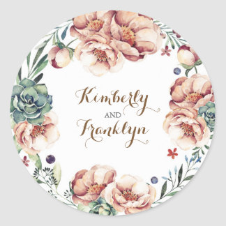 floral wreath vintage fall watercolor wedding round sticker