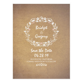 Floral Wreath Vintage Save The Date Postcards