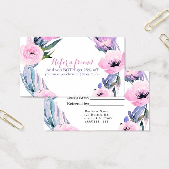 Floral Wreath Watercolor Elegant Refer a Friend Business