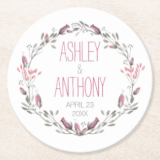 Floral Wreath Watercolor Wedding Round Paper Coaster