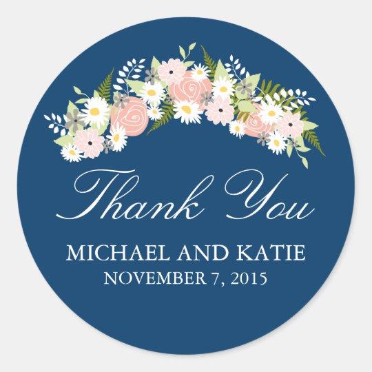 Floral Wreath Wedding Round Sticker