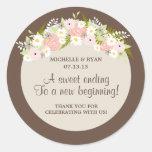 Floral Wreath Wedding Round Stickers