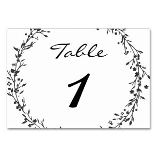 Floral Wreath Wedding Table Number