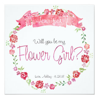 Floral Wreath Will You Be my Flower Girl Card 13 Cm X 13 Cm Square Invitation Card