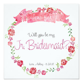 Floral Wreath Will You Be my Jr. Bridesmaid Card 13 Cm X 13 Cm Square Invitation Card