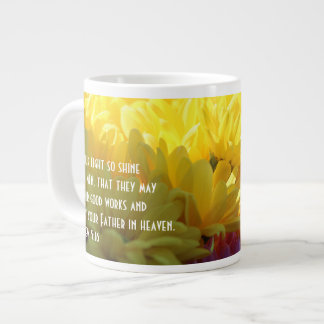 Floral (yellow mums in sunlight) w Scripture Verse Large Coffee Mug