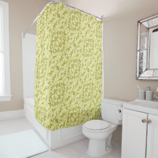 Floral Yellow Pattern Shower Curtain