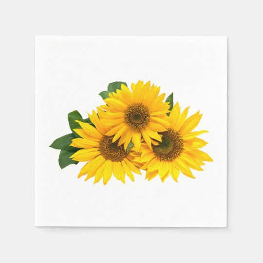 Floral Yellow Sunflower Country Wedding Flowers Disposable