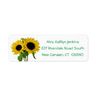 Floral Yellow Sunflower Flowers Green Love Return Address Label