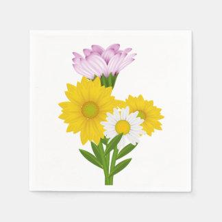 Floral Yellow Sunflower White Daisy Purple Flower Disposable Napkins