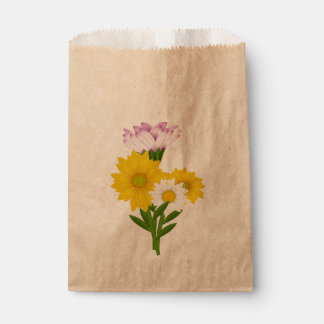 Floral Yellow Sunflower, White Daisy Purple Flower Favour Bags