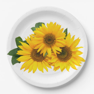 Floral Yellow Sunflowers - Wedding / Party Flowers Paper Plate