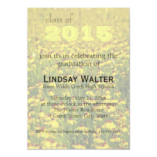 Floral Yellow Wildf|owers Graduation Invitation