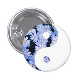 Floral Yin Yang 3 Cm Round Badge