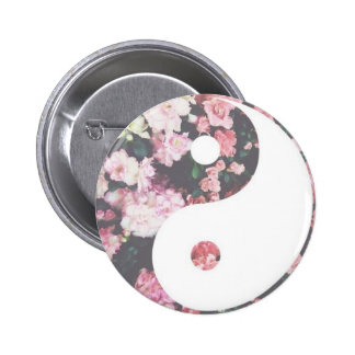 Floral Yin Yang 6 Cm Round Badge