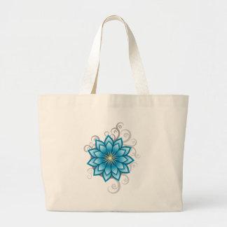 Florals - Blue Large Tote Bag